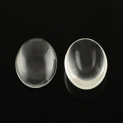 10x Glass Cabochons Oval Clear Transparent Jewellery Setting 10-35 mm