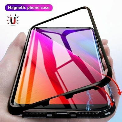 Magnética metal Vidrio templado funda Carcasa para Apple iPhone XR XS X 8 7 Plus