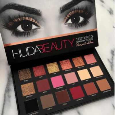 New HUDA BEAUTY Rose Gold Edition Textured Eye Shadow Palette 18 Colors UK SALE#