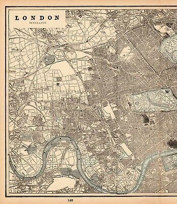 1893 Antique LONDON ENGLAND MAP Vintage City Map of London Gallery Wall Art 6153