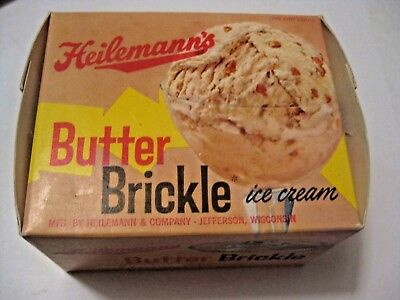Nos Vintage Heileman's Butter Brickle Ice Cream Advertising One Pint Container