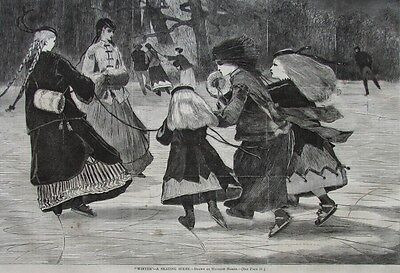 Winslow Homer Winter A Skating Scene Harper's Weekly Wood Engraving 1868