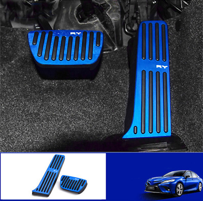 2pcs blue No Drilling Gas Brake Foot Pedal Cover AT For Toyota Camry 2018 2019