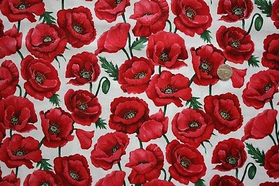Poppy Blossoms on White fabric fq 50x56 cm Nutex 80060-101 100% Cotton