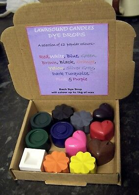 Dyes for candle making Set A...dye up to 12 kilos of wax.12 different colours