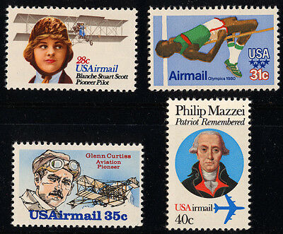 US Scott # C97 C98 C99 & 100 Airmail 1979-80 Commems Set of 4 MNH***FREE SHIP***