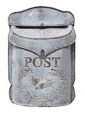Vintage Chic Shabby Cottage Metal Bird Mailbox~French Letter Wall Mount Postbox