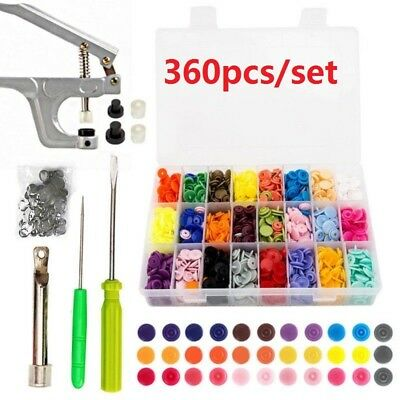 360 Set DIY Craft Snaps T5 Snap Starter Plastic Poppers Fasteners +1 Pliers DIY
