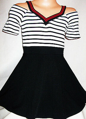 Girls Black White Stripe Off Shoulder Sporty Cheerleader Style Party Dress