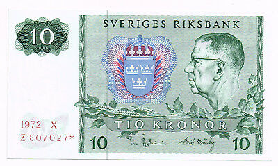 1972 SWEDEN 10 KRONOR REPLACEMENT NOTE - p52c