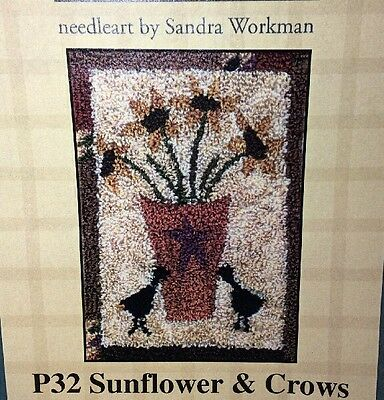 "Pine Mountain Punchneedle Embroidery Sunflower Crows Sandra Workman 3""x4"" P32"