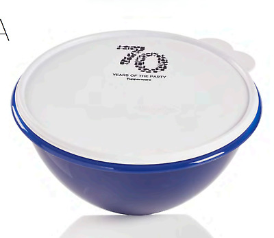 Tupperware Wonderlier Bowl 12 Cups Mix Serve 70 Years Logo Award Blue New