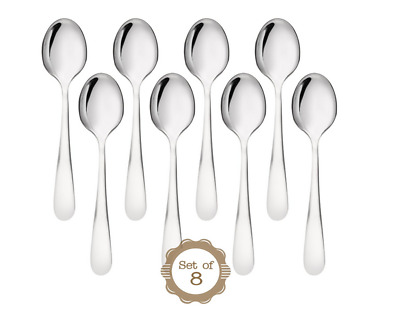8Pcs Tea Spoon Coffee Jam Spoon Stainless Steel Soup Spoons Kitchen Cooking Tool