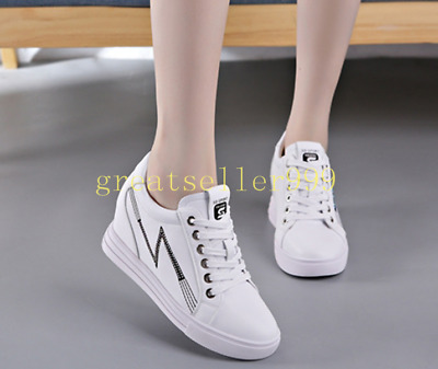 Fashion Sneaker College Women's Elevator Hidden Wedge High Heels NEW Shoes