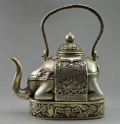 Chinese Collectible Old Handwork Tibet Silver Carve Flower Elephant Big Tea pot