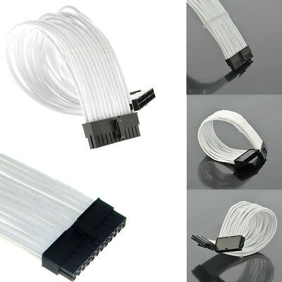 24 pin 30cm ATX Motherboard White Sleeved Extension + 2 Cable Combs WE9