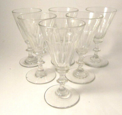 6 Antique Holmegaard Anglais First Wine Service White Wine glasses 1853