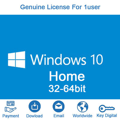 Windows 10 Home for 1 PC License Key Code 32 / 64 bit Genuine