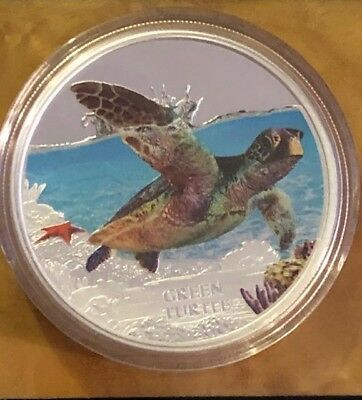 2014 Endangered & Extinct Green Sea Turtle $1 Pure Silver Proof Silver Coin 1 oz