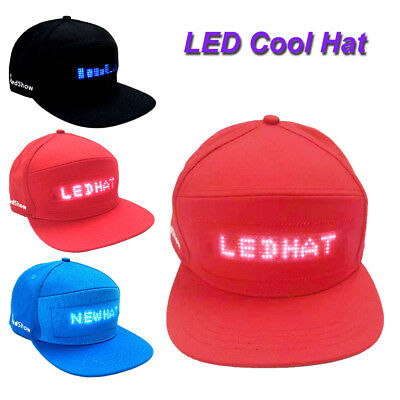 Fashion Cap Cool Hat with LED Screen Light Waterproof Smartphone Controlled Free