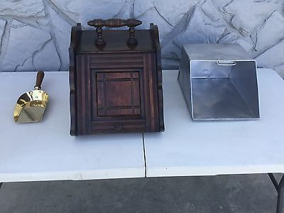 Gorgeous Antique wooden  Coal scuttle storage BOX with scoop.