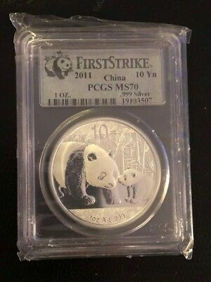 2011 CHINA SILVER PANDA Coin .999 10 Yn 1 OZ. SILVER PCGS MS70 FIRST STRIKE