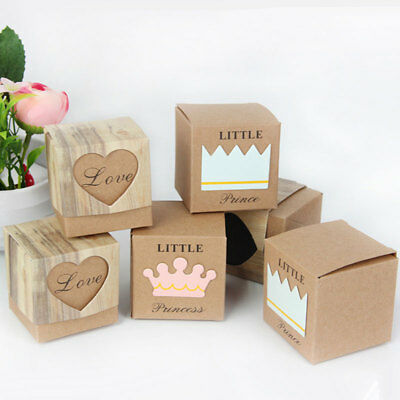 10pcs Kraft Paper Square Chocolate Candy Gift Boxes Wedding Party Favor Box
