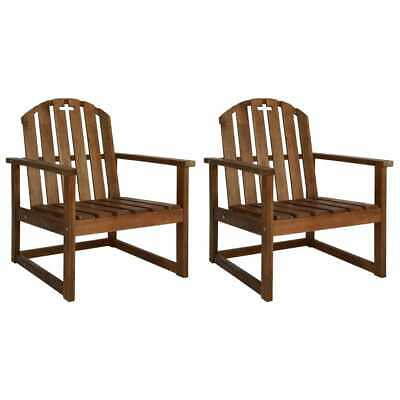vidaXL 2x Solid Acacia Wood Garden Sofa Chairs with Armrests Outdoor Seat