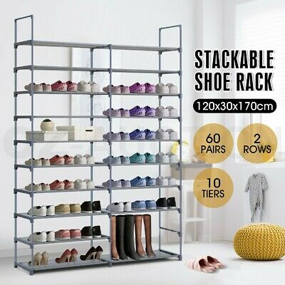 60 Pairs 10 Tiers Metal Shoe Rack Stackable 2 Rows Shelf Stand Storage Organizer