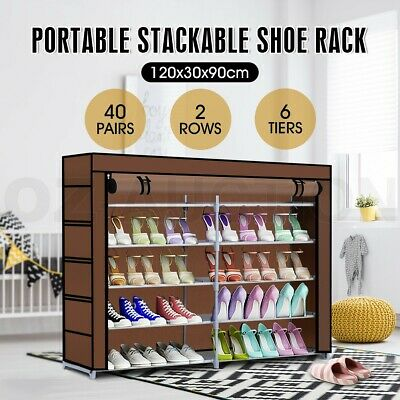 40 Pairs 6 Tiers Shoe Rack Cabinet Stackable Shelf Storage Organizer 2 Row Stand