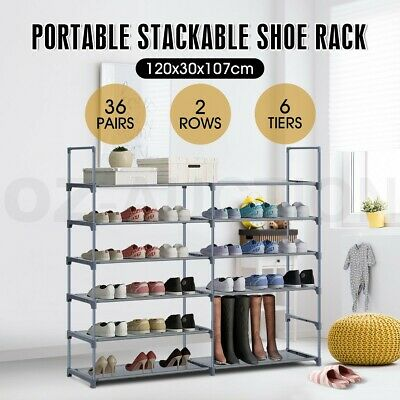 36 Pairs 6 Tiers Shoe Rack Cabinet Stackable 2 Row Storage Organiser Shelf Stand