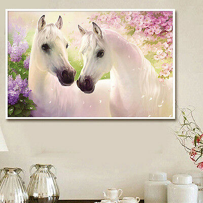 DIY 5D Diamond Painting White Horse Embroidery Cross Crafts Stitch Home NICE