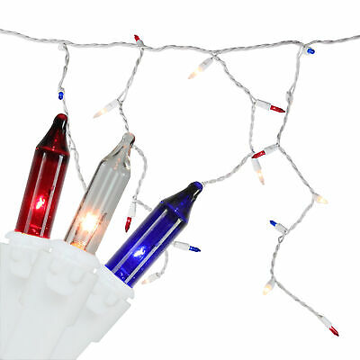 Northlight 105 Red White Blue 4th of July Mini Icicle Light Set 6.5ft White Wire