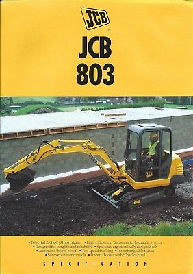 Equipment Brochure - JCB - 803 - Mini Excavator - c1994 (E4900)