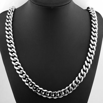 Top 316L Stainless Steel Heavy Link Silver Curb Cuban Chain Men Necklace 8-19mm