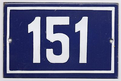 Old blue French house number 151 door gate plate plaque enamel steel metal sign