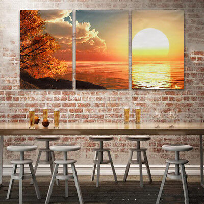 New Year Abstact Sunrise Wall Decor Art Oil Painting Sun Sea Sky Canvas Unframed
