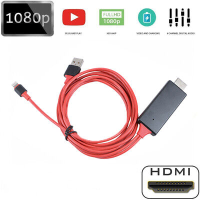 8 Pin Lightning to HDMI AV TV HD 1080P 2M Cable Adapter for iPhone 6 6S 7 8 X