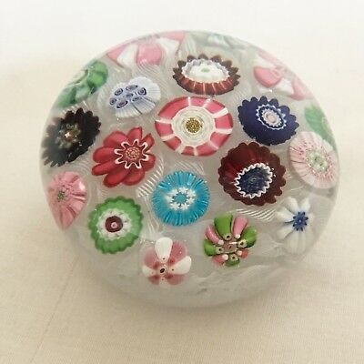 Antique 1850c French Clichy Rose Millefiori & Latticino Glass Paperweight