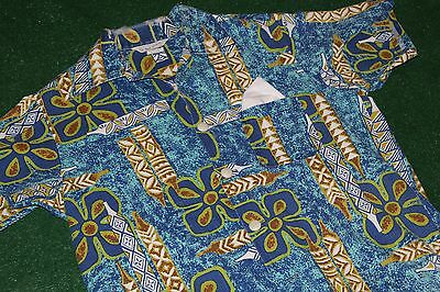 Vintage~Sea Island Swimwear~Hawaiian Shirt Barkcloth Tapa tiki 60's mod retro