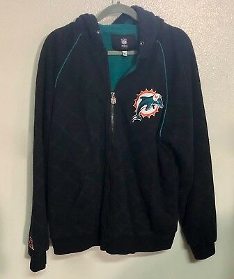 9f5ad43f MENS VINTAGE 90S PRO LINE NFL Miami Dolphins LINED HOODED ZIPPERED JACKET XL