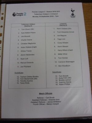 19/09/2016 Tottenham Hotspur U23 v Liverpool U23  (single sheet). Thank you for