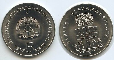 G12887 - East Germany 5 Mark 1987 A KM#116 Berlin Universal Time Clock UNC DDR