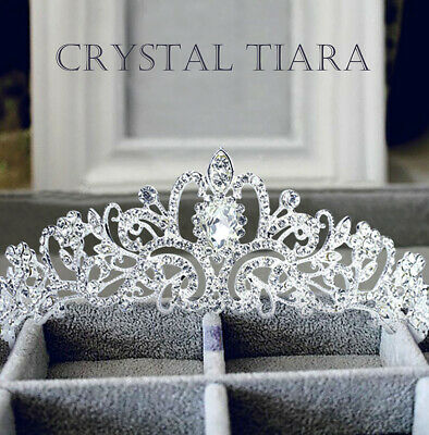 Wedding Bridal Princess Crystal Prom Hair Tiara Crown Veil Headband with Comb US