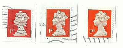 UK 1st Class Red security tabbed forgery stamps x 3, used on paper (Example 24)