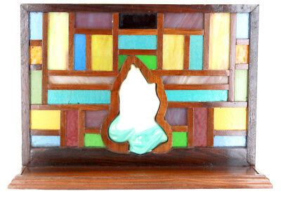Vintage Hand Made Praying Hands Stained Glass Wood Panel Window Alter Display