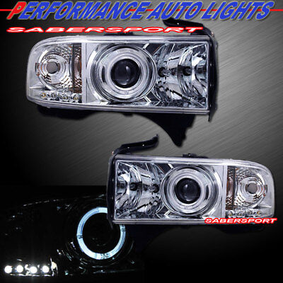 Set of Pair Halo Projector Headlights for 1994-2001 Dodge Ram Pickup