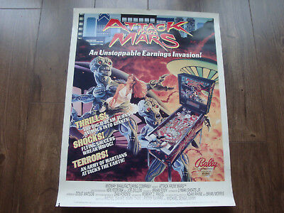 "Bally Attack From Mars Original Pinball Poster For Framing, Size 28"" X 22"""