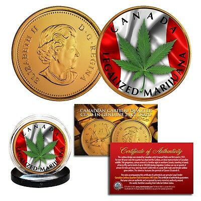 CANADA LEGALIZED MARIJUANA Canadian Caribou Quarter 24K Gold Plated - LOT OF 2
