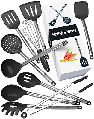 Kitchen Utensil Set - 10 Cooking Utensils - Nonstick Silicone and Stainless Set
